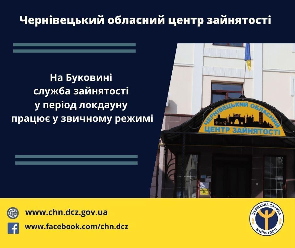 Центри зайнятості на Буковині працюватимуть з 8 до 24 січня 2021 року у звичному режимі